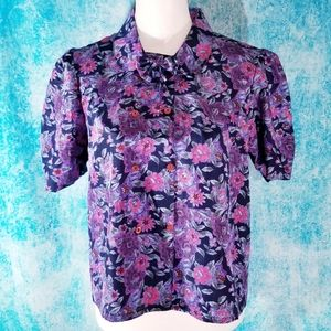 VTG Purple and Pink Floral Bow Button Up Blouse